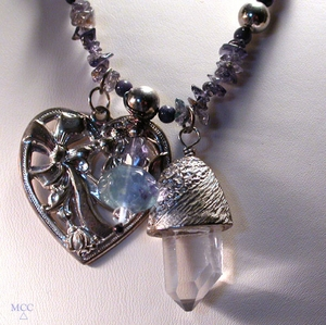 DRESS JEANS - Necklace of Sumptuous Iolite, Natural Arkansas Rock Crystal, Blue Lace Agate, Sodalite, Silver Heart