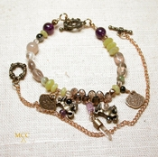 FACET - Wear As Two Bracelets Or A Choker - Arkansas Rock Crystal, Amethyst, Facetted Smoky Quartz, Dancing Bronze Horse Beads With More