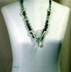 FROGL- Necklace of White Phantom Rock Crystal, Carved Green Aventurine Frog, Antique Soochow Jade and Freshwater Pearls