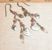 HEARTS GALORE - Dangle Tassle Earrings - Paired Natural Arkansas Rock Crystals, Blush Jasper, Oxidized Sterling French Wires