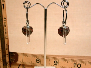 HEARTS GALORE - Oxidized Sterling Convertible Hoops with Matched Arkansas Rock Crystals and Pink Leopardskin Jasper Hearts