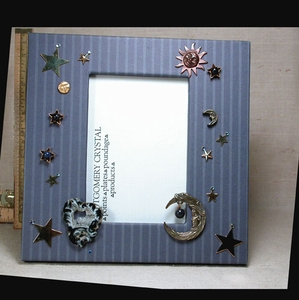 HEAVEN AND EARTH - Handmade Picture Frame - Denim Pinstriped Papers, Geode Slice, Lapis Lazuli, Blue Goldstone, Golden Stars