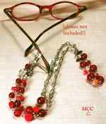 HEY RED Peeper Keeper/Necklace - Rock Crystal, Deep Red Spectrum of Vintage Glass Beading, Convertible One-Of-Kind