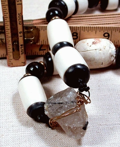 IN BLACK AND WHITE - Adjustable Necklace of Tourmalinated Quartz, Faience, Black Wood, Black and White Bone, Leather
