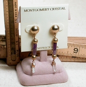 LITTLE STICKS Earrings - Matched Natural Arkansas Rock Crystals with Amethyst, Posted Tops