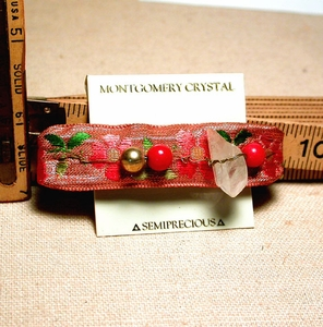 METALLIC COPPER TAPESTRY RIBBON Large Barrette with Wrapped Natural Arkansas Rock Crystal, Rose Red Marble and Golden Beads