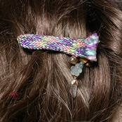 PASTEL PLAID - Barrette with Arkansas Rock Crystal and Vintage Flower Buttons