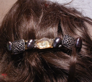 """SERENITY - French Clip 3"""" with Natural Arkansas Rock Crystal, Geometric Sterling Filigree Diamond Shaped Beads, Silver Ovals"""