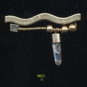 SMILE BAR - One Of Kind Arkansas Keyhole Rock Crystal, Mixed Metals Pin