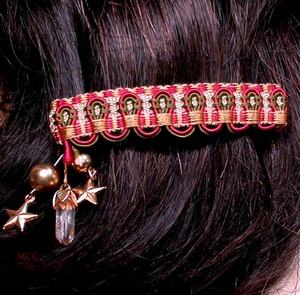 SOLD:  ADIRONDACK SCALLOP Barrette - Gold Stars, Natural Quartz Crystal, Cream Gold Cranberry Olive Tapestry