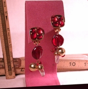SOLD: SILK CLIPS Earrings - RED RED Table Cut Facetted Glass Stones, Real Rock Crystals