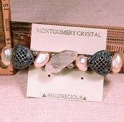 SOLD: TOUJOURS Barrette - Rainbow Veils Rock Crystal, Peach Iridescent Cultured Pearls, Silver Hearts and Rice Beads