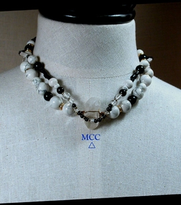 SPECTATOR - Double Strand Necklace of Natural Arkansas Rock Crystal, Crazy Lace Agate, White Howlite, Black Onyx, Black Glass