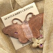 TAG - Large Butterfly Pin with Arkansas Rainbow Rock Crystal and Swarovski Glass