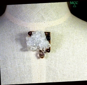 THE PATRICIAN BROOCH - Sparkling Arkansas Rock Crystal Cluster, Freshwater Pearls, Fancy-Cut Fluorite