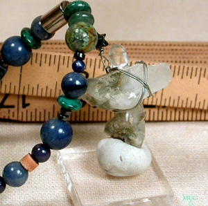 UP - One of Kind Long Necklace of Very Rare Natural Arkansas Rock Crystal Cross with Healing Green Chlorite, African and Chinese Turquoises, Blue Dumortierite, Navy Sodalite, Jade, Faience