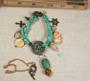 WHAT GOES AROUND - Wear As TWO Bracelets Or Choker - Arkansas Rock Crystal, Chinese Turquoise, Yellow Jade, Fancy Jasper, Faience, Bone, Metal Charms