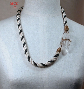 """XL- 27"""" Necklace of A Natural Arkansas Rock Crystal, Jewellers Brass Wrap and Self-Clasp, Black and Cream Heavy Designer Cording"""