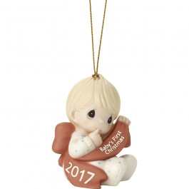 �Baby�s First Christmas 2017� Bisque Porcelain Ornament, Boy