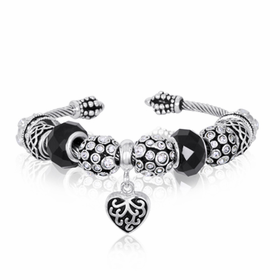 Black and Silver Dangle Heart Bracelet