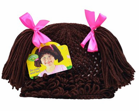 Cabbage Patch Kids Knit Beanie Hat with Yarn Hair: Brunette Pigtails
