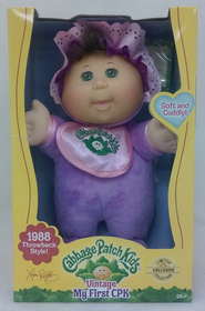Cabbage Patch Kids Vintage My First CPK 1988 Throwback Brunette in Purple