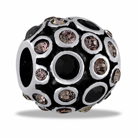 Davinci Beads Black and Clear CZ Antiqued Globe
