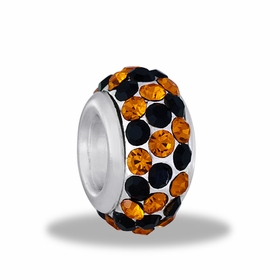 Davinci Beads Black and Orange 3 Row Crystal