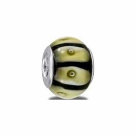 Davinci Beads Black White Light Green Glass
