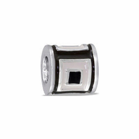 Davinci Beads Black White Square