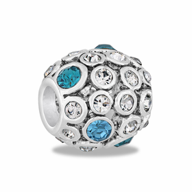 Davinci Beads Blue CZ Antiqued Globe
