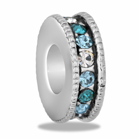Davinci Beads Blue Large CZ Wheel Thin