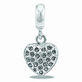Davinci Beads Dangle Heart CZ