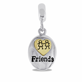 "Davinci Beads ""Friends"" Silver Drop Dangle"