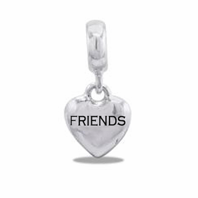"Davinci Beads ""Friends"" Silver Heart Dangle"