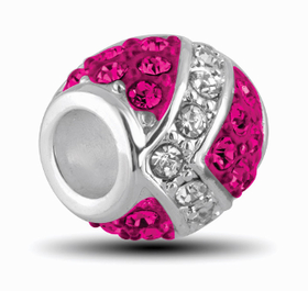 Davinci Beads Fuschia and Silver Decorative Crystal