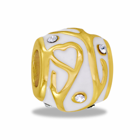 Davinci Beads Gold CZ White Heart
