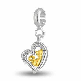 Davinci Beads Golden Cat In CZ Heart