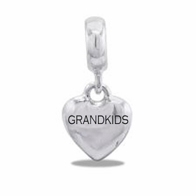 "Davinci Beads ""Grandkids"" Silver Heart Dangle"