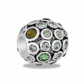 Davinci Beads Green CZ Antiqued Globe