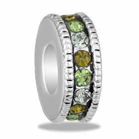 Davinci Beads Green Large CZ Wheel Thin