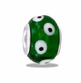 Davinci Beads Green Spotted Art Glass