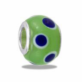 Davinci Beads Green with Blue Dots Foil Glass