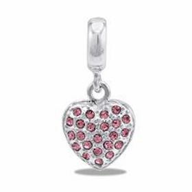 Davinci Beads Heart Pink CZ Dangle