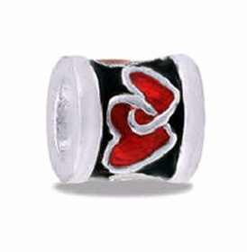 Davinci Beads Heart Red/Black Silver
