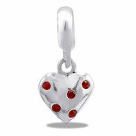 Davinci Beads Heart Red Stone Dangle