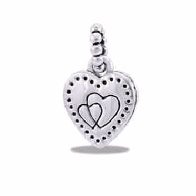 Davinci Beads Large heart Dangle Silver
