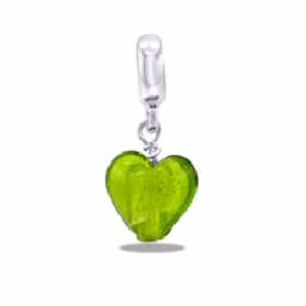 Davinci Beads Light Green Glass Heart Dangle