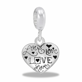 Davinci Beads Love Script Silver Dangle