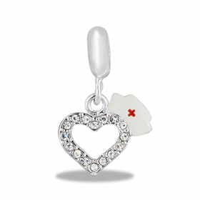 Davinci Beads Nurses' Cap and Crystal Heart Dangle